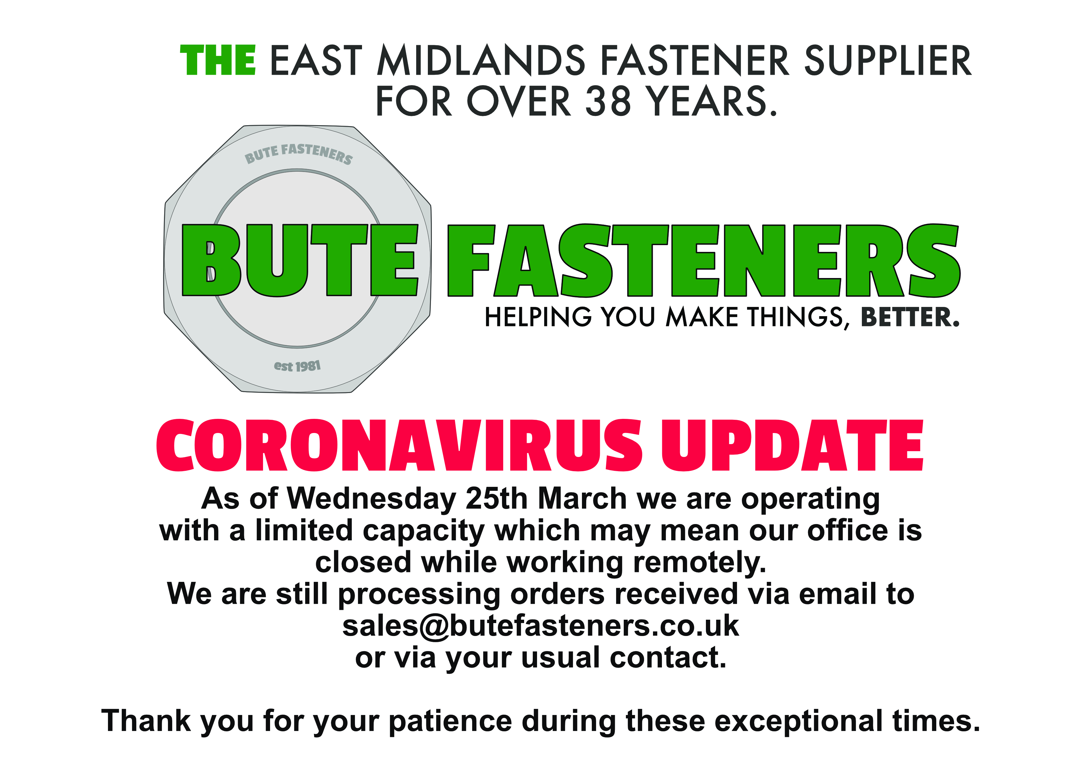 Bute Fasteners - THE East Midlands fastener supplier for over 35 years. Helping you make things, better. Our new site is coming soon